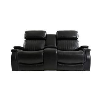 Obsidian Leather Power Reclining Sofa w/Massage & Heat
