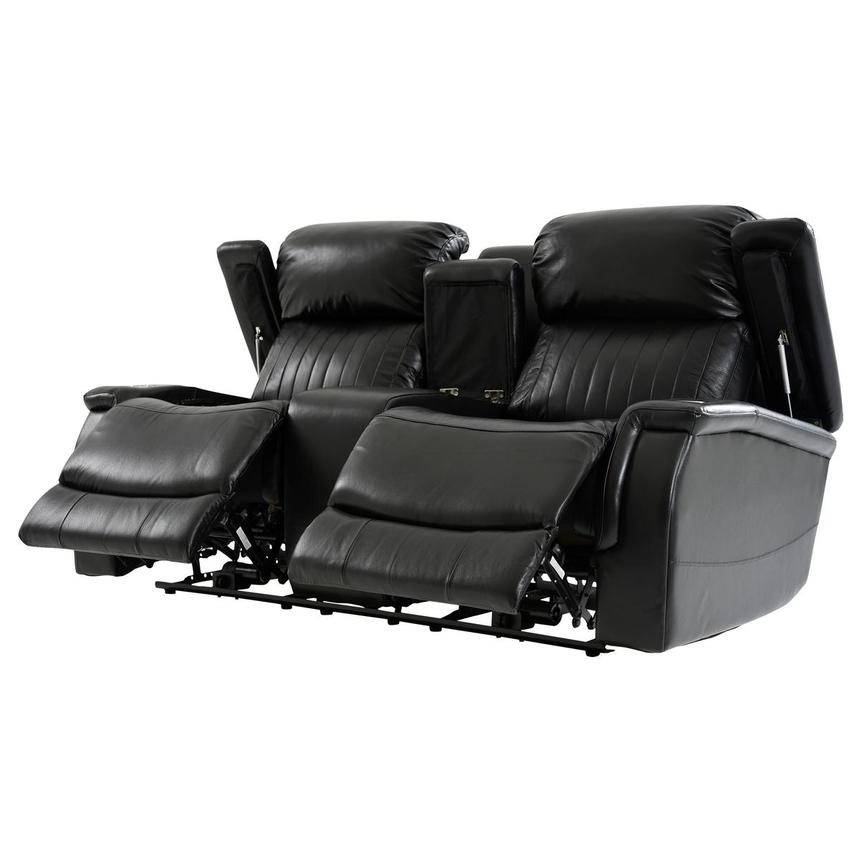 Obsidian Leather Power Reclining Sofa w/Massage & Heat  alternate image, 3 of 15 images.