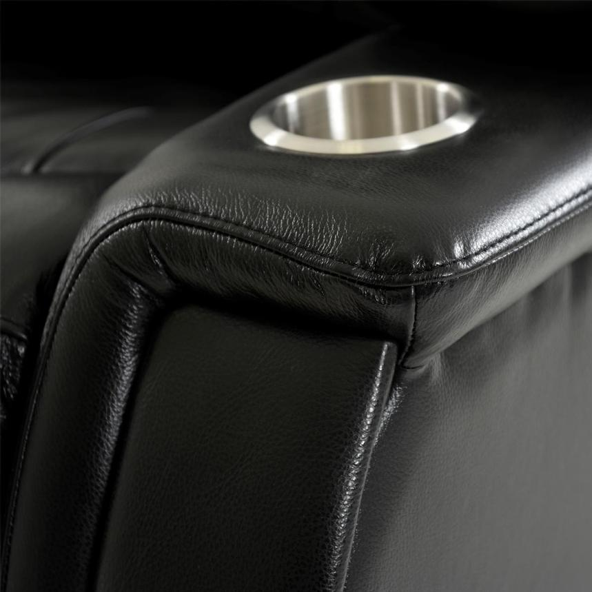 Obsidian Leather Power Reclining Sofa w/Massage & Heat  alternate image, 8 of 15 images.