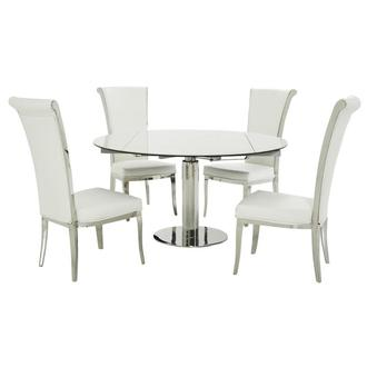 Tami Faux Mable/Joy White 5-Piece Formal Dining Set