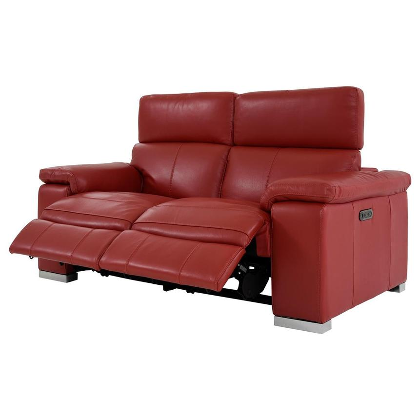 Charlie Red Leather Power Reclining Loveseat  alternate image, 4 of 12 images.
