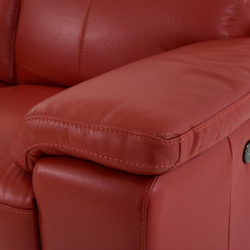 Charlie Red Leather Power Reclining Loveseat  alternate image, 9 of 12 images.