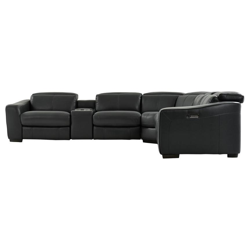 Jay Dark Gray Leather Power Reclining Sectional  alternate image, 4 of 10 images.