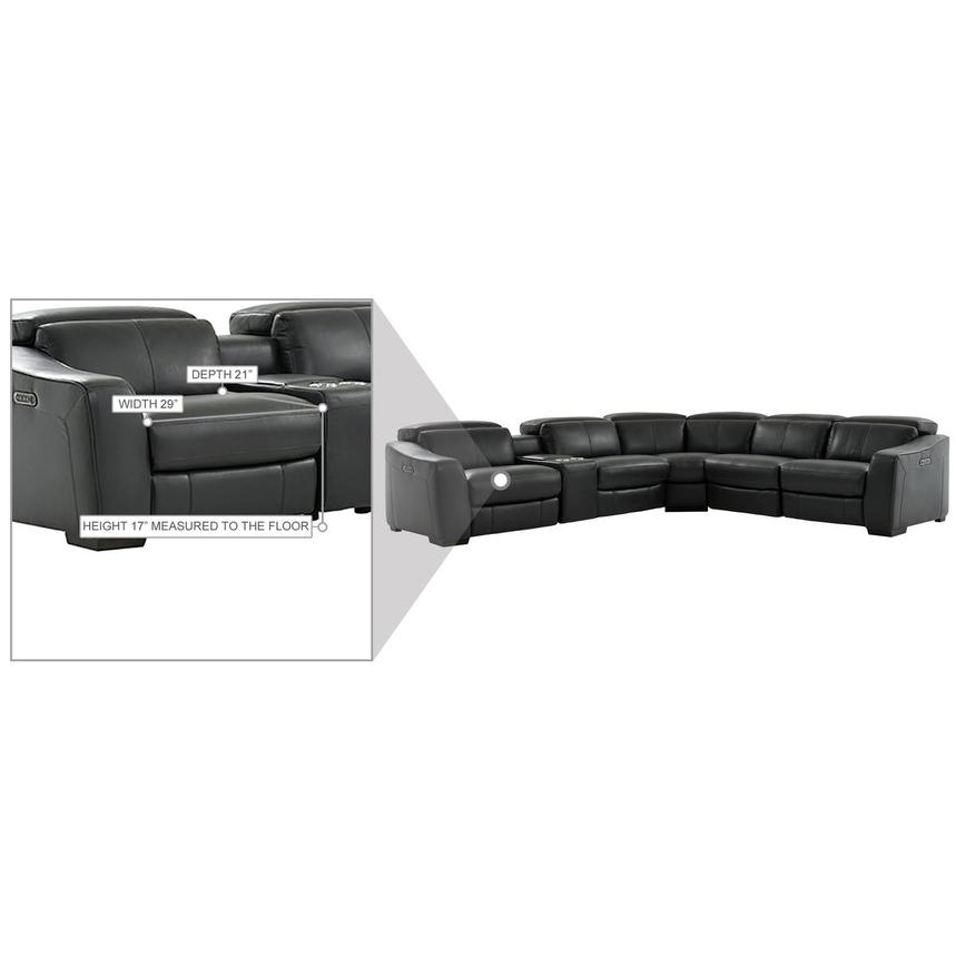 Jay Dark Gray Leather Power Reclining Sectional  alternate image, 9 of 10 images.