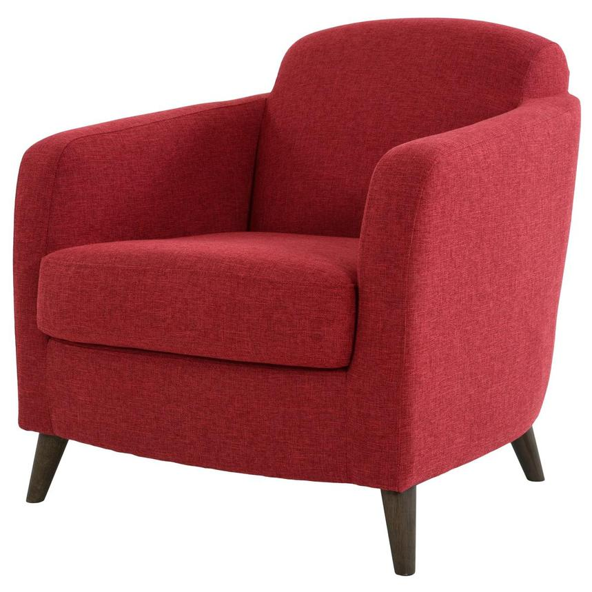 Haisley Red Accent Chair w/Ottoman  alternate image, 4 of 15 images.
