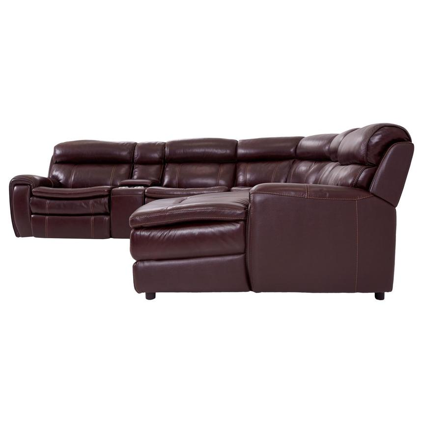 Napa Burgundy Leather Power Reclining Sectional w/Right Chaise  alternate image, 3 of 9 images.