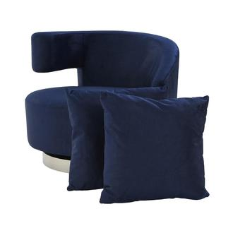 Okru II Dark Blue Swivel Chair w/2 Pillows