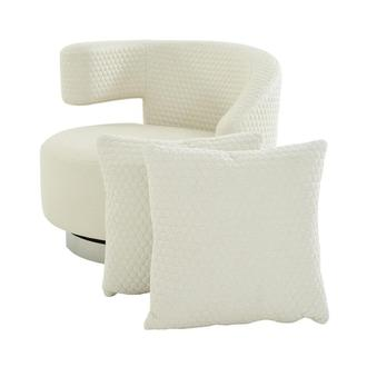 Okru II Cream Swivel Chair w/2 Pillows