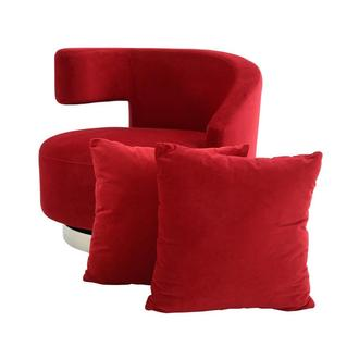 Okru Red Swivel Chair w/2 Pillows