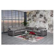 Charlie Gray Leather Power Reclining Sectional  alternate image, 2 of 12 images.