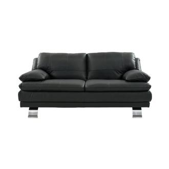 Rio Dark Gray Leather Loveseat