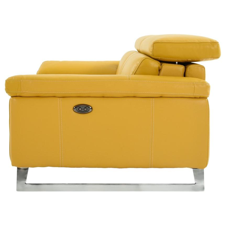 Gabrielle Yellow Leather Power Reclining Loveseat  alternate image, 4 of 10 images.