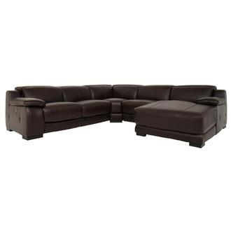 Gian Marco Dark Brown Leather Power Reclining Sectional w/Right Chaise