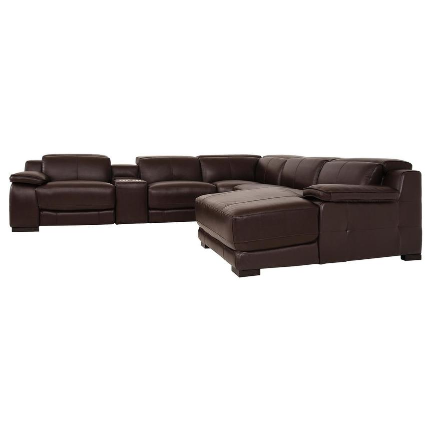 Gian Marco Dark Brown Leather Power Reclining Sectional w/Right Chaise  alternate image, 3 of 9 images.