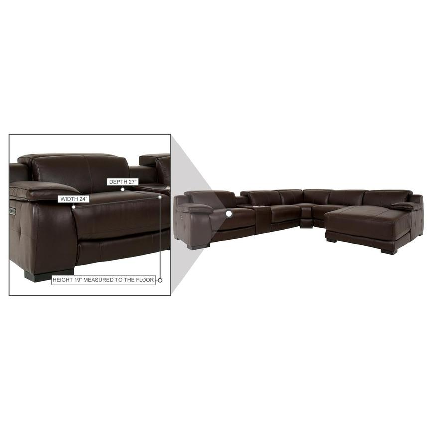 Gian Marco Dark Brown Leather Power Reclining Sectional w/Right Chaise  alternate image, 8 of 9 images.