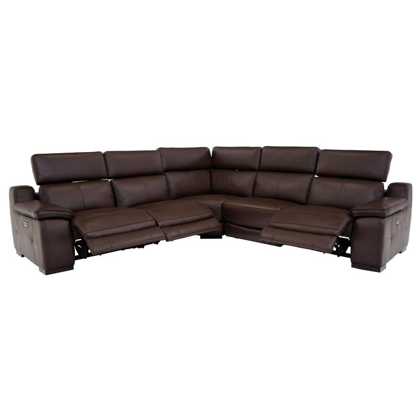 Gian Marco Dark Brown Leather Power Reclining Sectional  alternate image, 2 of 8 images.