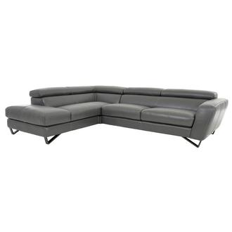 Sparta Gray Leather Corner Sofa w/Left Chaise