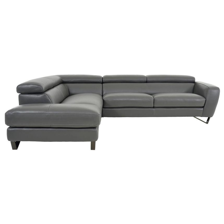 Sparta Gray Leather Corner Sofa w/Left Chaise  alternate image, 4 of 12 images.