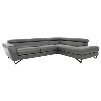 Sparta Gray Leather Corner Sofa w/Right Chaise