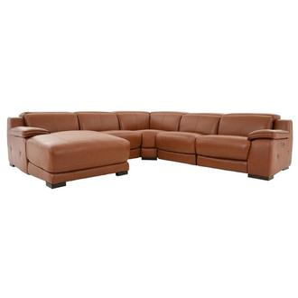 Gian Marco Tan Leather Power Reclining Sectional w/Left Chaise