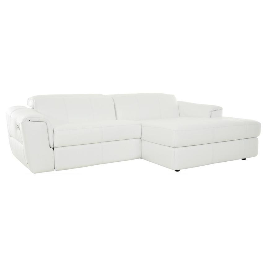 Sofextra White Leather Power Reclining Sofa w/Right Chaise  main image, 1 of 16 images.