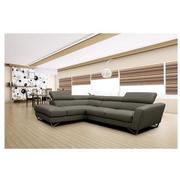 Sparta Gray Leather Corner Sofa w/Left Chaise  alternate image, 2 of 12 images.