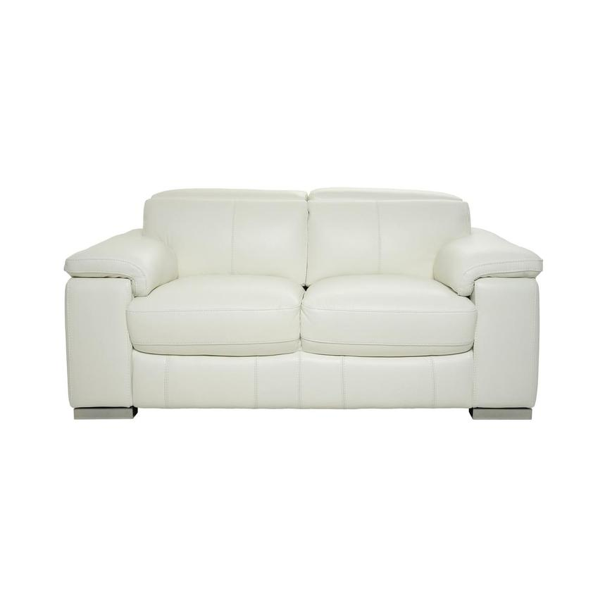 Charlie White Leather Loveseat  main image, 1 of 10 images.