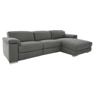 Karly Dark Gray Power Reclining Sectional w/Right Chaise