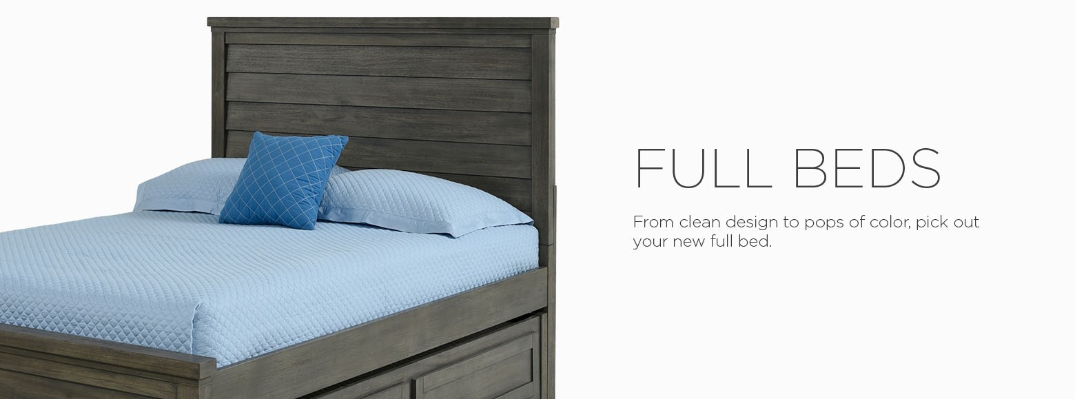 Full beds. From clean design to pops of color, pick out your new full bed below for a youth bedroom.